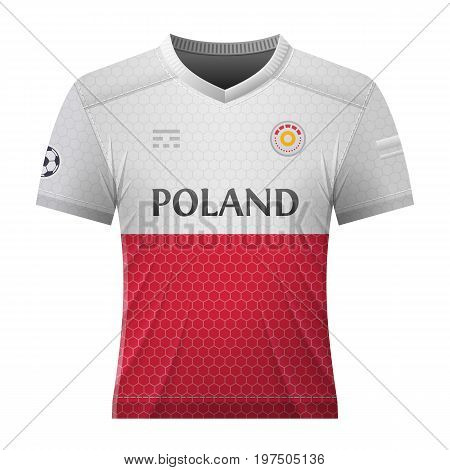 Soccer shirt in colors of polish flag. National jersey for football team of Poland. Best vector illustration for soccer sport game football championship national team gameplay etc