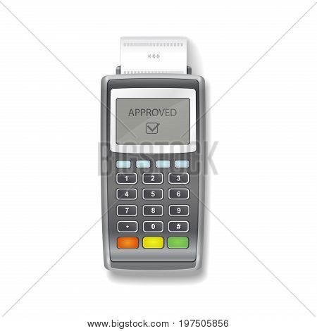 POS terminal. Terminal printing a receipt. Realistic
