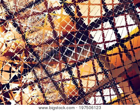 Orange brown and white abstract fractal background with chaotic rugged nets reminding of a burnt city or an old abandoned construction site. For creative designs banners textile prints etc.