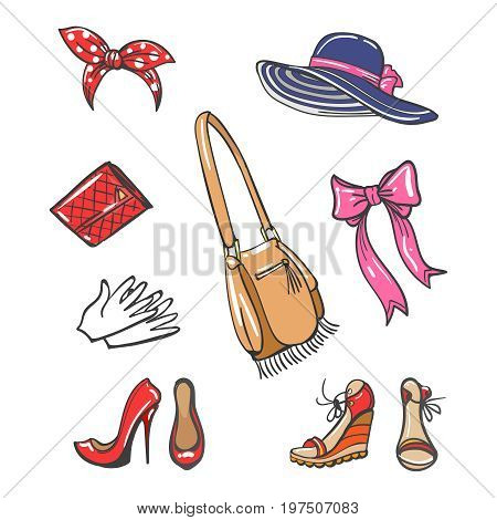Girls fashion accessories isolated on white background. Vector colorful cartoon shoes, hat, bags