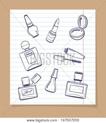 Popular cosmetics sketch vector icons. Hand drawn lipstick, nail polish and perfume bottles on notebook page background