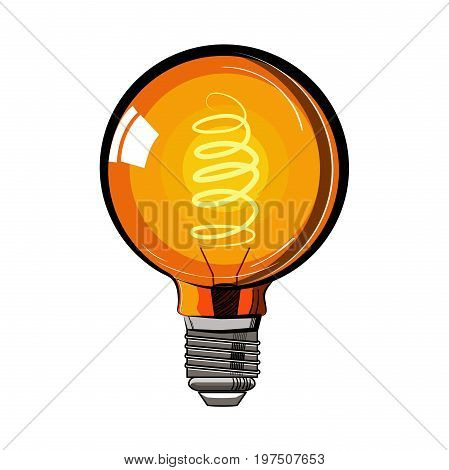 Colored incandescent light bulb sketch. Tungsten bulb. Vector illustration, EPS 10