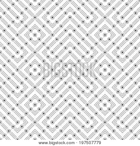 Vector seamless pattern. Infinitely repeating modern stylish texture consisting of thin lines and dots which form contemporary geometrical ornament with corner and rhombus shapes.