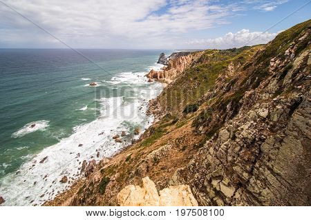 Coast Of Portugal, Cape Cabo Da Roca - The Westernmost Point Of Europe. Picturesque Rocks.