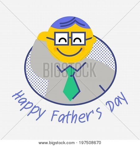 Happy Father's Day. Fathers day greeting card. All in a single layer. Vector illustration. Flat line.