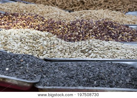 Roasted Seeds In Street Market