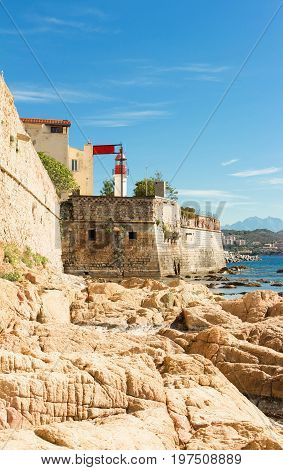 Ajaccio, citadel with white lighthouse tower, Corsica island, France