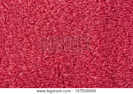 Abstract Textures: Red Bath Towel In Close Up View