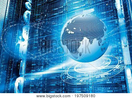 series disk storage disks of the mainframe in data center with hi speed internet technology with 3d planet earth background illustration