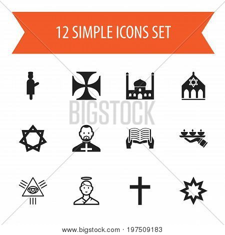 Set Of 12 Editable Religion Icons. Includes Symbols Such As Hexagram, Reading, Candle Light