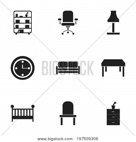 Set Of 9 Editable Furniture Icons. Includes Symbols Such As Lectern, Divan, Bookshelf And More