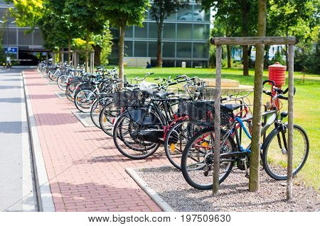 Public park with bicycle parking in Dusseldorf, Germany.
