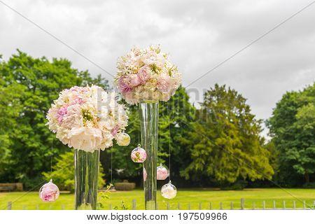 flowers decorate wedding ceremony. Weddings details flowers