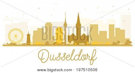 Dusseldorf City skyline golden silhouette. Simple flat concept for tourism presentation, banner, placard or web site. Cityscape with landmarks