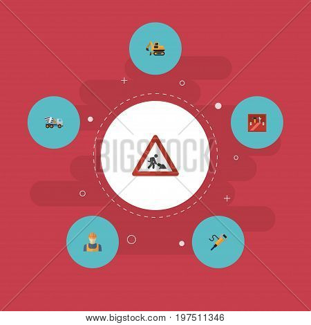 Flat Icons Caution, Pneumatic, Cement Blender And Other Vector Elements