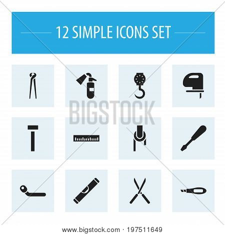 Set Of 12 Editable Tools Icons. Includes Symbols Such As Turn-Screw, Scale, Knife Box And More
