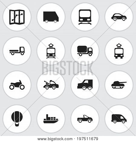 Set Of 16 Editable Transport Icons. Includes Symbols Such As Tramcar, Service Car, Suv And More