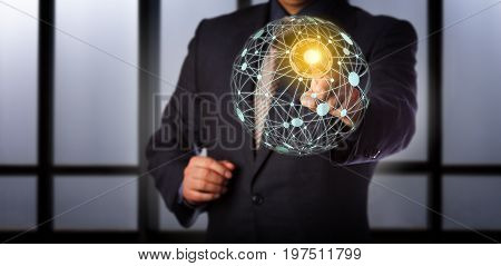 Blue chip business manager is touching a secured access point in a virtual global mesh network. Information technology concept for cloud computing computer network connections and world wide web.