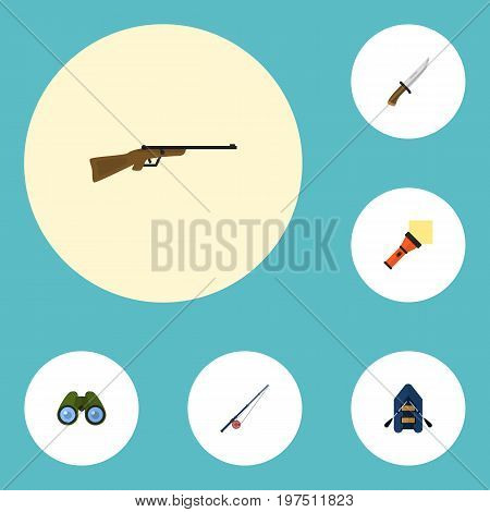Flat Icons Lighter, Weapon, Zoom And Other Vector Elements