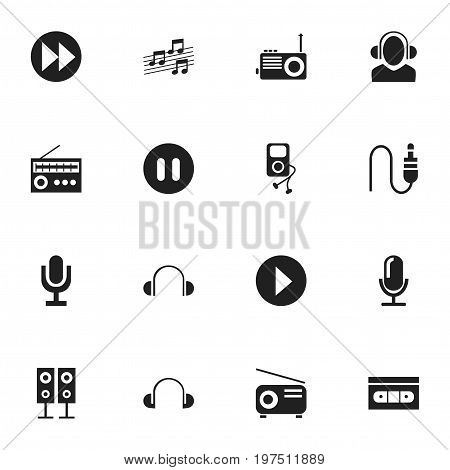 Set Of 16 Editable Sound Icons. Includes Symbols Such As Pause, Mike, Media Fm And More