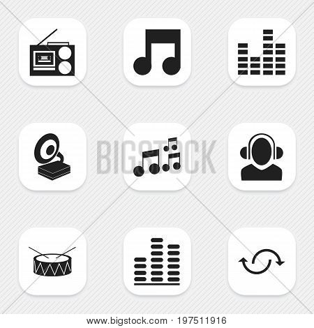 Set Of 9 Editable Audio Icons. Includes Symbols Such As Bar Wave, Snare, Cassette Player And More