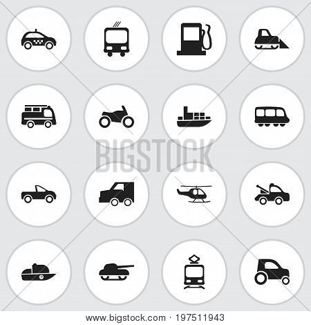 Set Of 16 Editable Transportation Icons. Includes Symbols Such As Tramcar, Fuel, Tractor And More