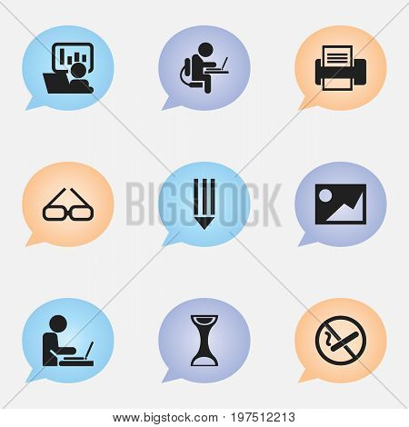 Set Of 9 Editable Bureau Icons. Includes Symbols Such As Publicity, Picture, Spectacle And More