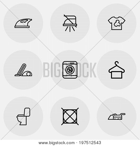 Set Of 9 Editable Cleaning Outline Icons. Includes Symbols Such As Lavatory, Attention, Dirty Clothes And More