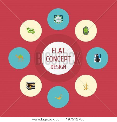 Flat Icons Ramadan Kareem, Dromedary, Pitcher And Other Vector Elements