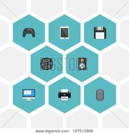 Flat Icons Cooler, Computer Mouse, Display And Other Vector Elements
