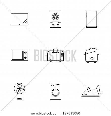 Vector or illustration of home electronics flat line icons set including television electric stove refrigerator microwave toaster rice cooker fan washing machine and iron.