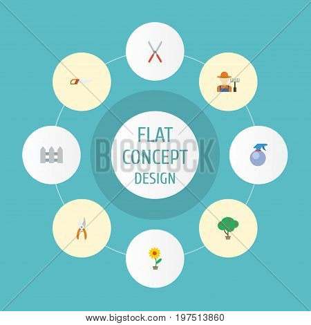 Flat Icons Hacksaw, Pruner, Spray Bottle And Other Vector Elements