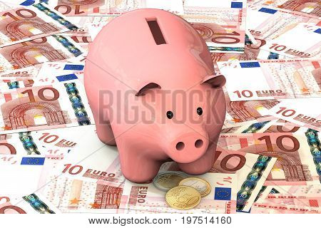 3d illustration: Pink piggy bank with copper coin cents lie on the background of banknote ten Euro, European Union. Money. Banking business concept. Investments, deposits, lending, storage, cash.