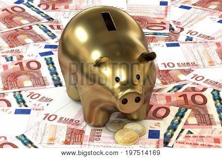 3d illustration: Golden piggy bank with copper coin cents lie on the background of banknote ten Euro, European Union. Money. Banking business concept. Investments, deposits, lending, storage, cash.