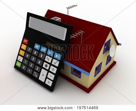 House And Calculator. Estate Concept. 3D Rendered Illustration