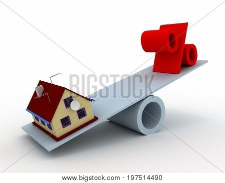 House And Percent Sign In The Balance . 3D Rendered Illustration