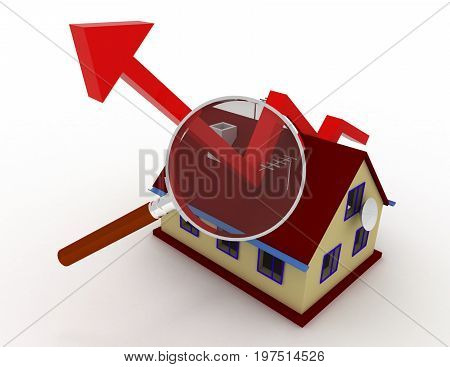 Real Estate Growth Chart . 3D Rendered Illustration