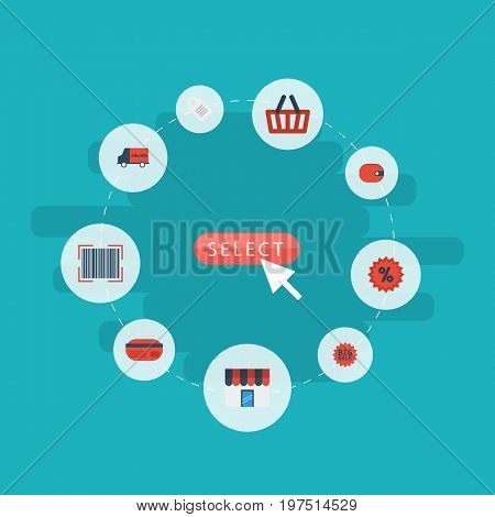 Flat Icons Shop, Payment, Qr And Other Vector Elements