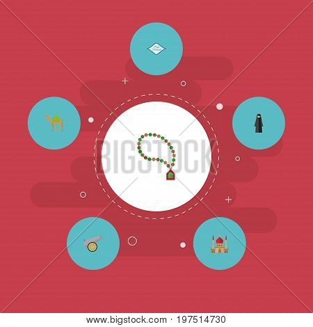 Flat Icons Minaret, Artillery, Arabic Calligraphy And Other Vector Elements