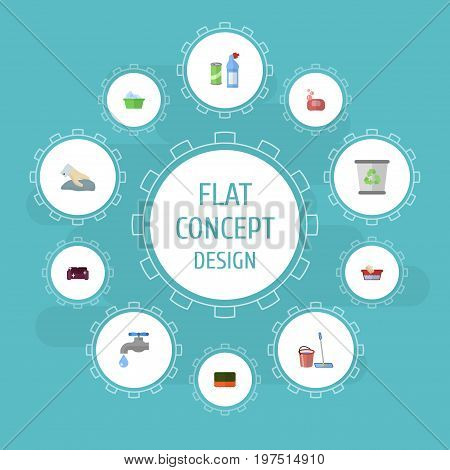 Flat Icons Sofa, Wisp, Faucet And Other Vector Elements