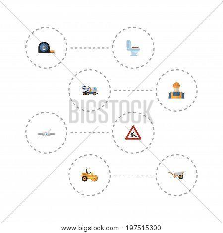 Flat Icons Cement Blender, Worker, Handcart Vector Elements