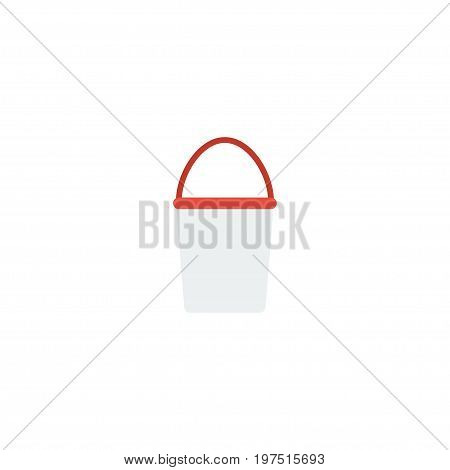 Flat Icon Bucket Element. Vector Illustration Of Flat Icon Pail Isolated On Clean Background