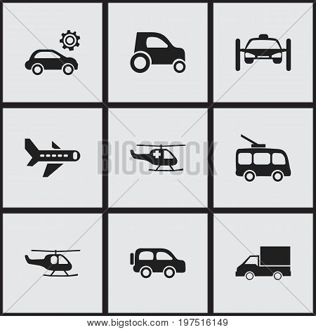 Set Of 9 Editable Shipment Icons. Includes Symbols Such As Omnibus, Airplane, Part Of Car And More
