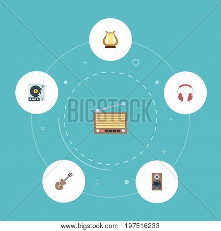 Flat Icons Lyre, Earphone, Acoustic And Other Vector Elements
