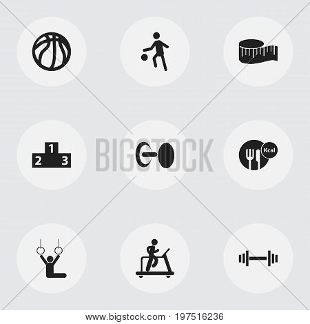 Set Of 9 Editable Exercise Icons. Includes Symbols Such As Strength, Cloth Ruler, Basket Play And More