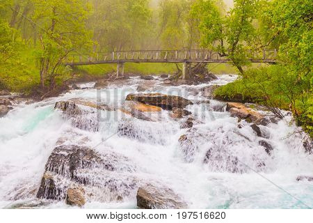 Waterfall Along The Aurlandsfjellet Norway