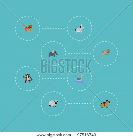 Flat Icons Waterbird, Chimpanzee, Jackass And Other Vector Elements