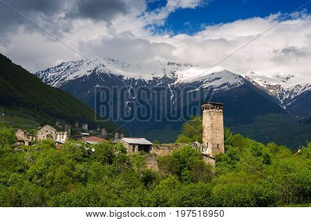 Ancient Towers And Old Stone Houses In The Mountains