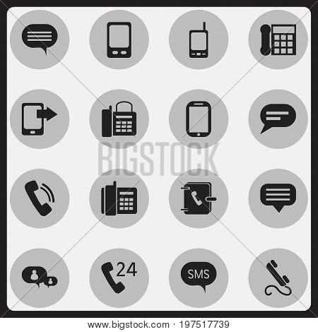 Set Of 16 Editable Gadget Icons. Includes Symbols Such As Share Display, Address Notebook, Phone And More