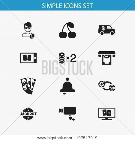 Set Of 12 Editable Excitement Icons. Includes Symbols Such As Cell Play Cards, Wager, Tracking Cam And More
